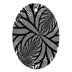 Fractal Symmetry Pattern Network Oval Ornament (two Sides)