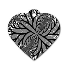 Fractal Symmetry Pattern Network Dog Tag Heart (one Side)