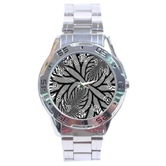 Fractal Symmetry Pattern Network Stainless Steel Analogue Watch