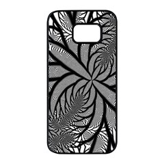 Fractal Symmetry Pattern Network Samsung Galaxy S7 Edge Black Seamless Case