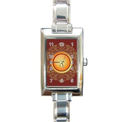 Badge Gilding Sun Red Oriental Rectangle Italian Charm Watch