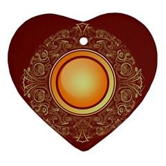 Badge Gilding Sun Red Oriental Ornament (heart)
