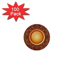 Badge Gilding Sun Red Oriental 1  Mini Buttons (100 Pack)