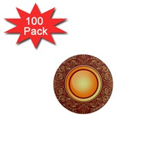 Badge Gilding Sun Red Oriental 1  Mini Magnets (100 Pack)