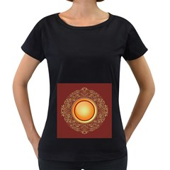 Badge Gilding Sun Red Oriental Women s Loose Fit T Shirt (black)