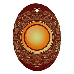 Badge Gilding Sun Red Oriental Oval Ornament (two Sides)