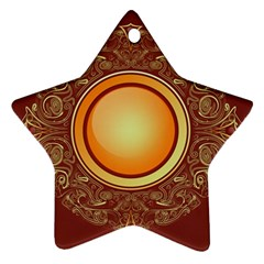 Badge Gilding Sun Red Oriental Star Ornament (two Sides)