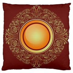 Badge Gilding Sun Red Oriental Large Cushion Case (one Side)