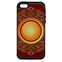 Badge Gilding Sun Red Oriental Apple Iphone 5 Hardshell Case (pc+silicone)