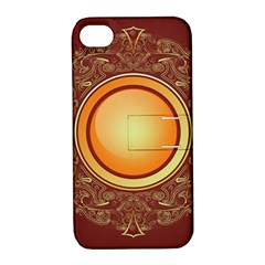 Badge Gilding Sun Red Oriental Apple Iphone 4/4s Hardshell Case With Stand