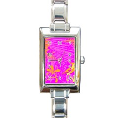 Spring Tropical Floral Palm Bird Rectangle Italian Charm Watch