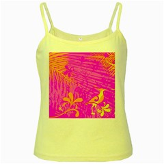 Spring Tropical Floral Palm Bird Yellow Spaghetti Tank