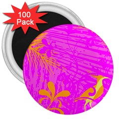Spring Tropical Floral Palm Bird 3  Magnets (100 Pack)