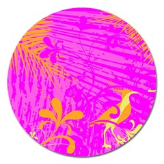 Spring Tropical Floral Palm Bird Magnet 5  (round)
