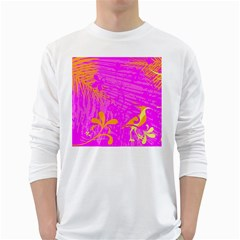 Spring Tropical Floral Palm Bird White Long Sleeve T Shirts