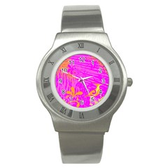 Spring Tropical Floral Palm Bird Stainless Steel Watch