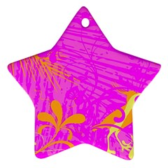 Spring Tropical Floral Palm Bird Star Ornament (two Sides)
