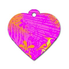Spring Tropical Floral Palm Bird Dog Tag Heart (one Side)