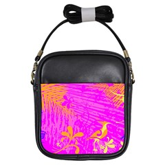 Spring Tropical Floral Palm Bird Girls Sling Bags