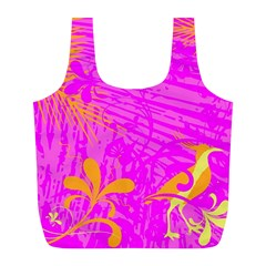 Spring Tropical Floral Palm Bird Full Print Recycle Bags (l)