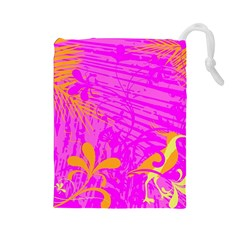 Spring Tropical Floral Palm Bird Drawstring Pouches (large)