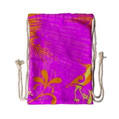 Spring Tropical Floral Palm Bird Drawstring Bag (small)