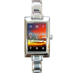 Sunset Mountain Indonesia Adventure Rectangle Italian Charm Watch