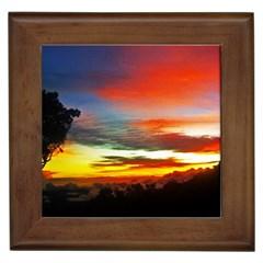 Sunset Mountain Indonesia Adventure Framed Tiles
