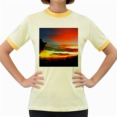 Sunset Mountain Indonesia Adventure Women s Fitted Ringer T Shirts
