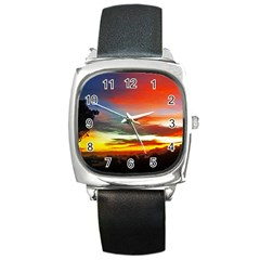 Sunset Mountain Indonesia Adventure Square Metal Watch