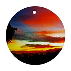 Sunset Mountain Indonesia Adventure Round Ornament (two Sides)