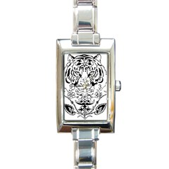 Tiger Animal Decoration Flower Rectangle Italian Charm Watch
