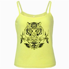 Tiger Animal Decoration Flower Yellow Spaghetti Tank