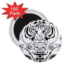 Tiger Animal Decoration Flower 2 25  Magnets (100 Pack)