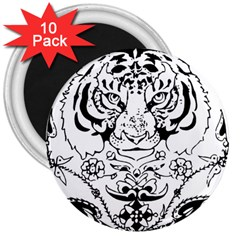Tiger Animal Decoration Flower 3  Magnets (10 Pack)