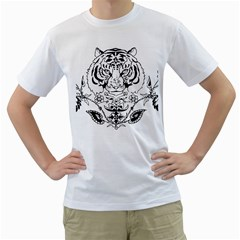 Tiger Animal Decoration Flower Men s T Shirt (white) (two Sided)