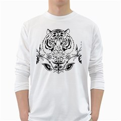 Tiger Animal Decoration Flower White Long Sleeve T Shirts