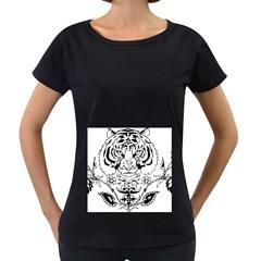 Tiger Animal Decoration Flower Women s Loose Fit T Shirt (black)