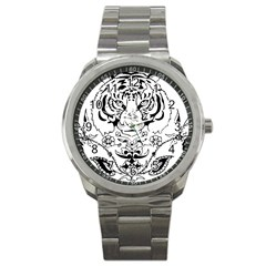 Tiger Animal Decoration Flower Sport Metal Watch