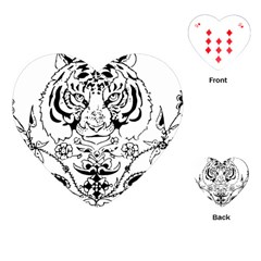 Tiger Animal Decoration Flower Playing Cards (heart)
