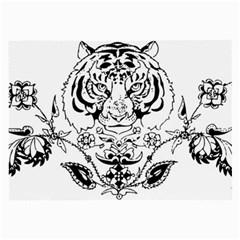 Tiger Animal Decoration Flower Large Glasses Cloth (2 Side)