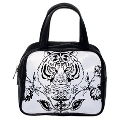 Tiger Animal Decoration Flower Classic Handbags (one Side)
