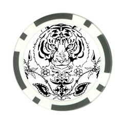Tiger Animal Decoration Flower Poker Chip Card Guard (10 Pack)