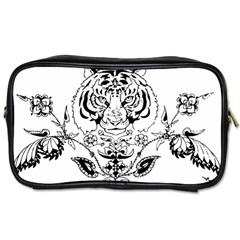 Tiger Animal Decoration Flower Toiletries Bags 2 Side