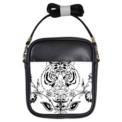Tiger Animal Decoration Flower Girls Sling Bags