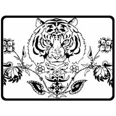 Tiger Animal Decoration Flower Fleece Blanket (large)