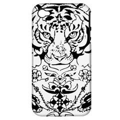 Tiger Animal Decoration Flower Apple Iphone 4/4s Hardshell Case (pc+silicone)