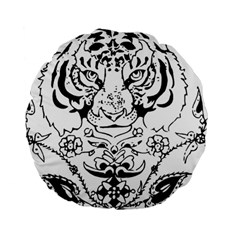 Tiger Animal Decoration Flower Standard 15  Premium Round Cushions