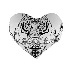 Tiger Animal Decoration Flower Standard 16  Premium Heart Shape Cushions