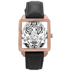 Tiger Animal Decoration Flower Rose Gold Leather Watch